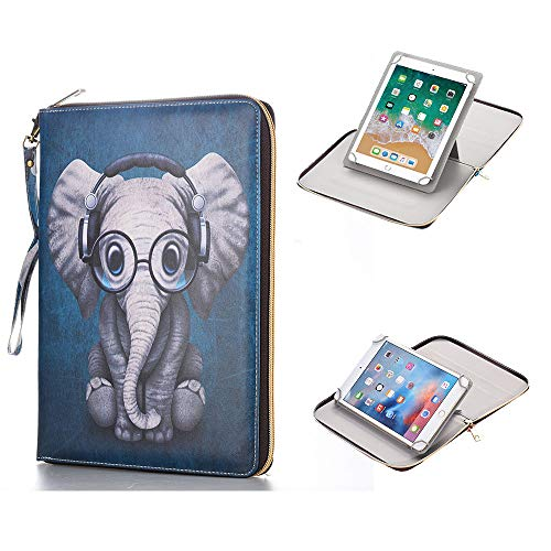 for 9.7-10.1 Inch Tablet, Synthetic Leather 360 Rotating Standing Document Pocket Folio Portable Wallet Case for All 9.7 10.1 10.5 Inch Tablet,Elephant ()
