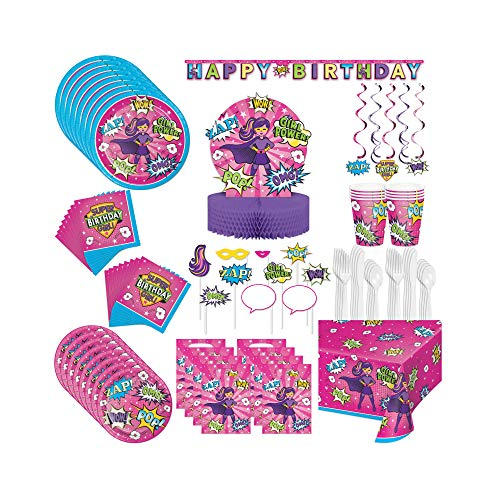 Setonware 90 Piece Birthday Super Hero Girl Party Supplies Set, Gift Bags Danglers Photo Booth Props 3d Centerpiece Jointed Banner Table Cover Paper Napkin Plate Cup Plastic Fork Spoon Knife -