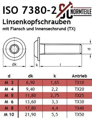 PROTECH Flanschschrauben Innensechsrund Flansch ISO 7380 M5x18 10 St/ück TORX Linsenkopfschrauben/rostfrei Edelstahl A2 V2A Linsenschrauben Flachkopfschrauben