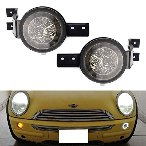 iJDMTOY Smoked Lens White LED DRL Parking Light/Turn Signal Assy For 02-06 MINI Cooper R50 R53 Hatchback & 05-08 R52 Convertible, OEM Fit White Daytime Running Lights & Amber Turn Signal Lamps