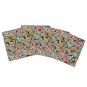 """Kess InHouse Julia Grifol """"My Butterflies and Flowers"""" Outdoor Place Mat, 15 by 15-Inch, Set of 4"""