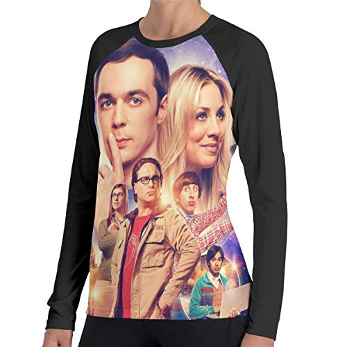 (Womens The Big Bang Theory Sportstyle Ringer Long Sleeve T Shirt Printed Athletic Tee Top Black)