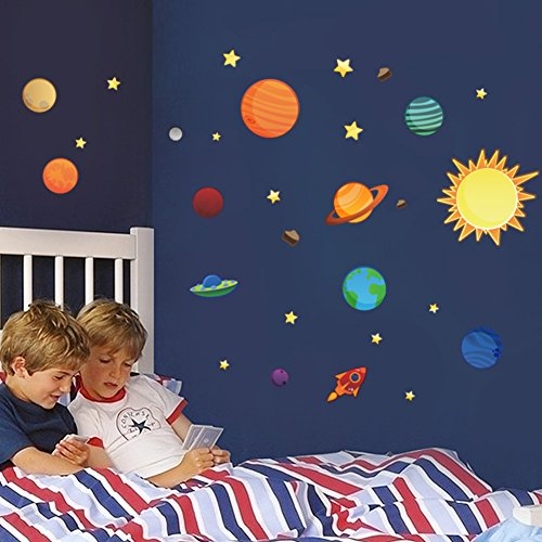 Solar System Wall Decal Wall Stickers Planets in Space Explorer Outer Space Galaxy Bedroom Wall Sticker Decal Education Removable Mural Wall Stickers (Scriptures Christmas At For Kids)
