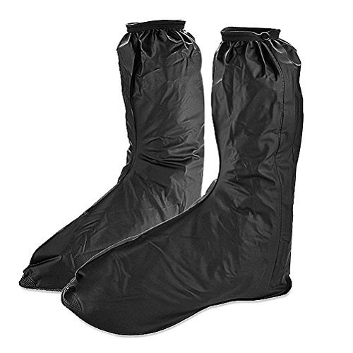 OULII Pair of Men's Anti-slip Reusable Rain Shoe Covers Waterproof shoes Overshoes Boot Gear High-top, Size XXL, Black