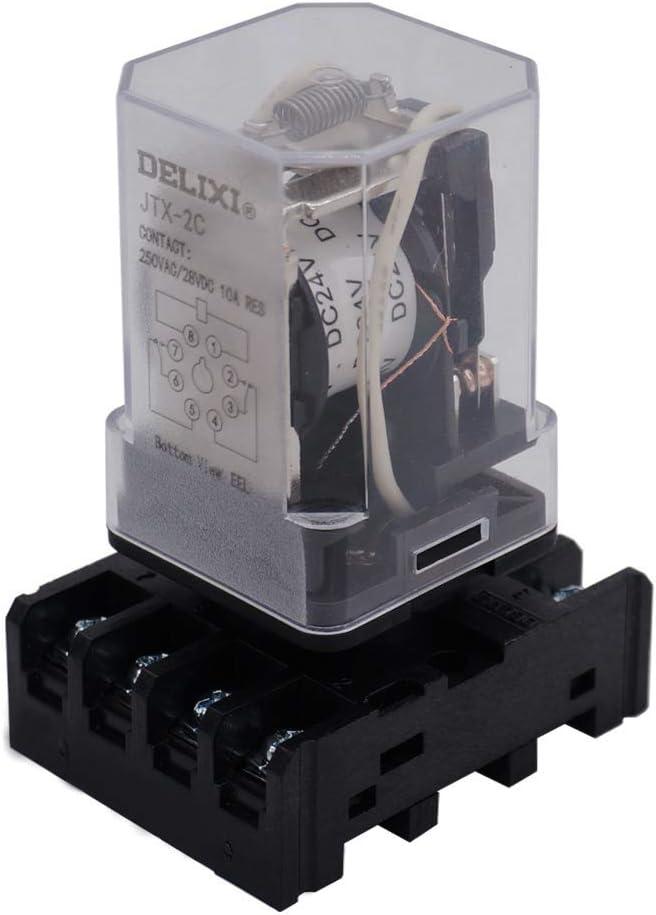 2NO 2NC JTX-2C-AC 220V 8-polig Taiss//DPDT-Leistungsrelais MK2P-I mit Steckklemmensockel AC 220V-spule
