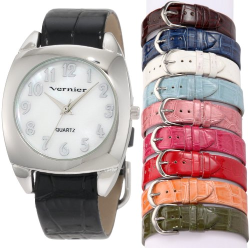 Vernier Women's VNR666572 10 Pieces Interchangeable Polyurethane Strap Quartz Watch