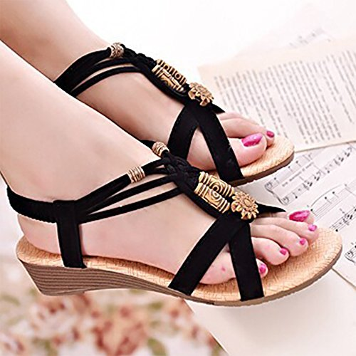 Summer Exotic Black Beach DEARWEN Casual Womens Shoes Wedge Sandals XRwEOqFx