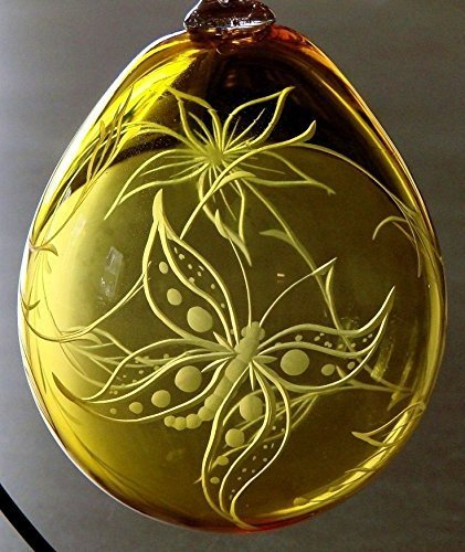 ''Butterfly Days'' Hand blown yellow ornament engraved with Butterfly & Flower. Christmas, holiday, everyday
