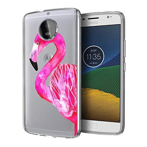 Moto G5 UV Case Van Clear Transparent Slim Soft TPU UV Printing Protective Case for Moto G5 Pretty Pink Flamingo]()