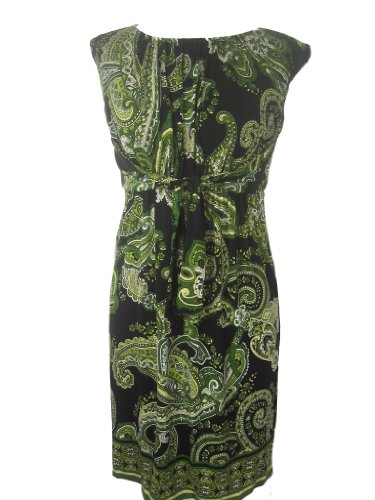 EVAN PICONE Paisley Sleeveless Tie Waist Dress-LIGHT OLIVE-8P