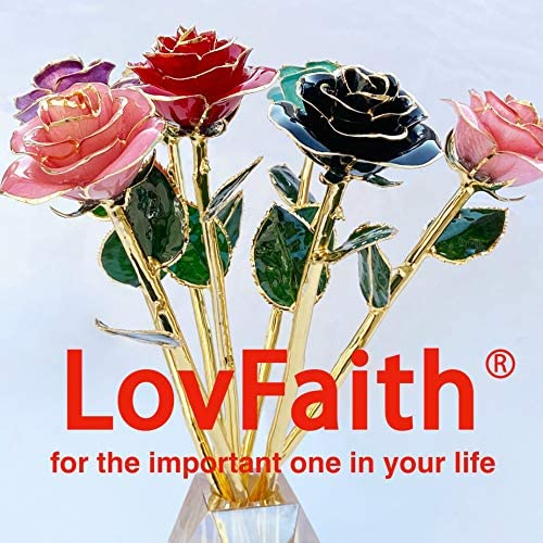LovFaith Valentines Day Gold Dipped Real Rose Gifts for Her Wife Girlfriend, 2021 Limited Edition, Red with Crystal Stand