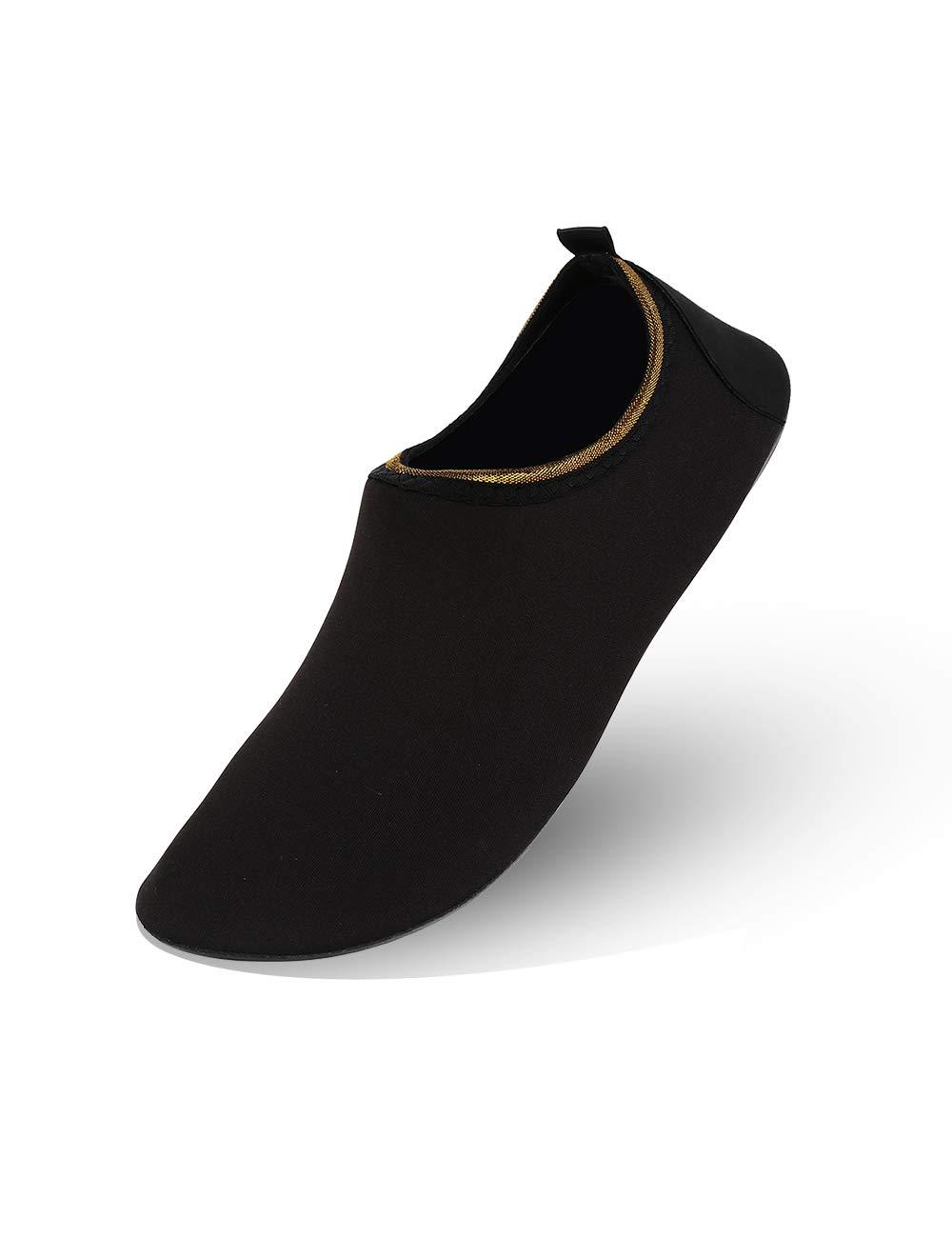MANYITE Unisex Lightweight Water Shoes Anti-Slip Sole Multifunctional Comfortable for Beach Yoga Swim Exercise (EU36/37, Black)