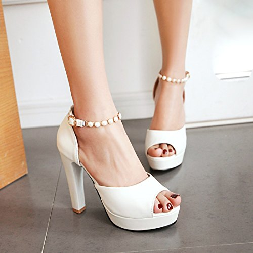 Elegantes Blanc Cheville Bloc avec Vernis Douce Femmes Talons Sandales Toe Haut Perles à UH Bride Peep et tBaqAzZ