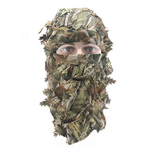Eamber Ghillie Camouflage Leafy Hat 3D Full Face Mask Headwear Turkey Realtree Camo Hunter Hunting Accessories (Reed Forest)