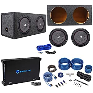 "2 Kicker 43CWR122 COMPR12 2000W 12"" Subwoofers+Sealed Box+Mono Amplifier+Amp Kit"