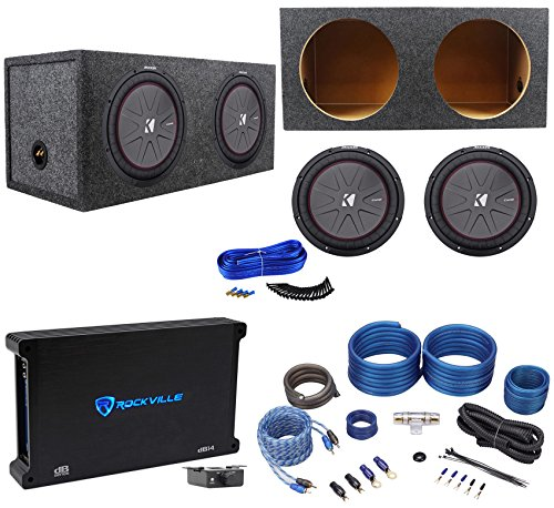2 Kicker 43CWR122 COMPR12 2000W 12'' Subwoofers+Sealed Box+Mono Amplifier+Amp Kit by Kicker