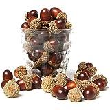 Casquillos de bellota artificial surtidos, marrón, 100 piezas, decoraciones de relleno de florero de otoño