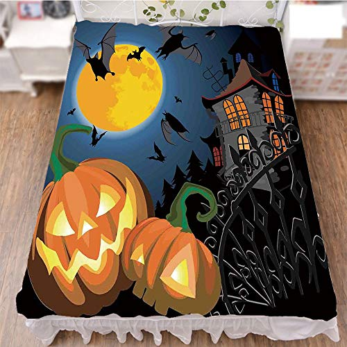 iPrint Bedding Bed Ruffle Skirt 3D Print,Halloween Haunted House Party Theme Decor Trick,Fashion Personality Customization adds Color to Your Bedroom. by 94.5