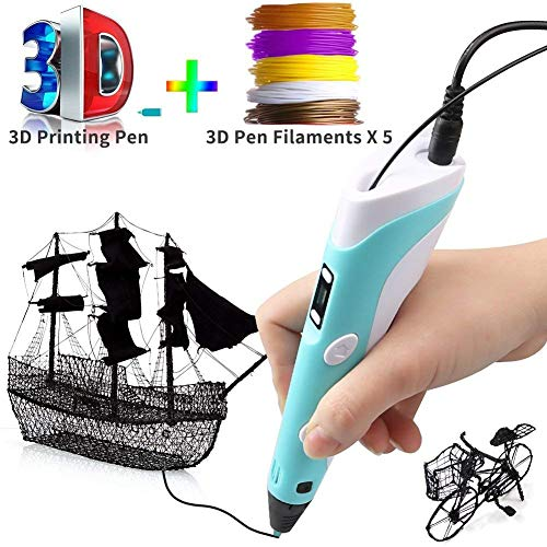 3D Printing Pen for Kids-3D Drawing Pen Handheld Craft Art Doodler with LCD Screen, Low Temperature Control, for 3D Modeling, Education, DIY Drawing, 1.75mm PLA Filaments (164ft) by Woage