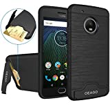 Moto G5 Plus Case, OEAGO [Card Slot] [Brushed Texture] Heavy Duty Hybrid Dual Layer Wallet Case Cover Shell with Kickstand for Motorola Moto G5 Plus (2017) - Black
