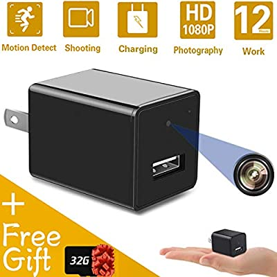 Mini Hidden Spy Camera USB Charger | Full HD 1080P Spy Camera with 32GB Memory Card | Motion Detection Loop Video Record Hidden Security Camera from HEXET