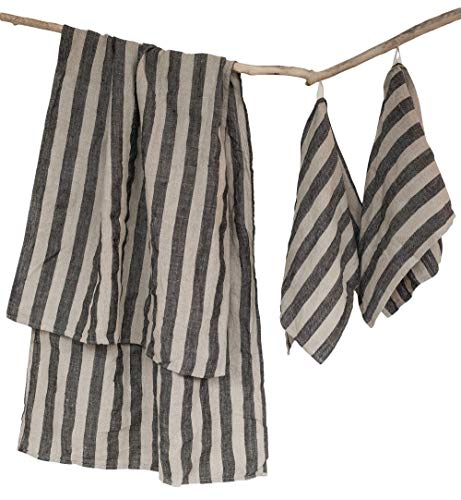 Huckaback Linen Bath Towels Set - Stone-washed 1 Bath and 2 Hand Towels - 100% Linen Flax Natural-Black Stripes ()