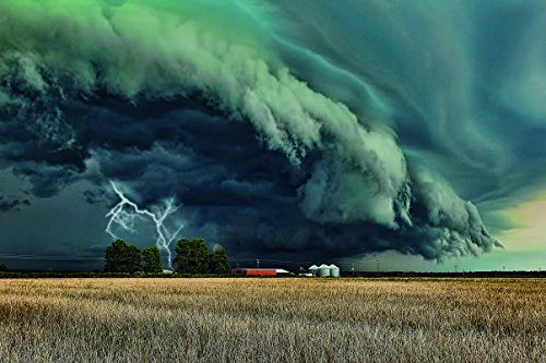 (Tornado lightning category field bad weather constructions wires- Nature Art Poster Print on Canvas 24x35in (P-1000434) )