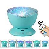ROSKY Ocean Wave Projector Night Light with Remote Control,12 LED Beads & 7 Colorful Light Modes, Built-in Mini Music Player for Kids Adults Bedroom Living Room. (Blue)