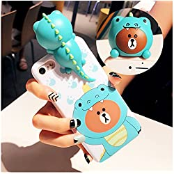 Squishy Phone Case iPhone 6 6s Plus, Super Cute iPhone 6 3d Cases Soft Silicone Cartoon Animal Protective Phone Case for Girls Women (iPhone 6 Plus / 6s Plus, Dinosaur)