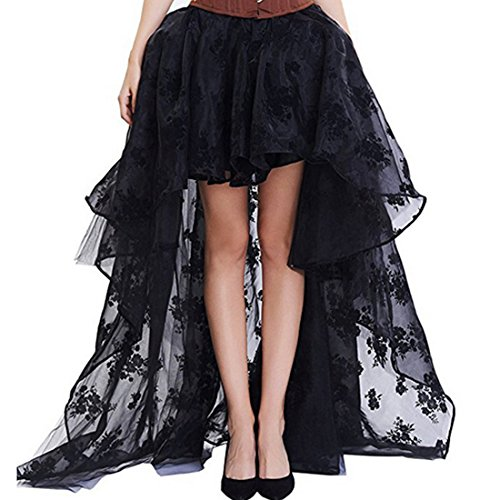 Women Preto Floral Fluffy Tulle babados Chiffon Saias Combinando Trajes Burlesque Skirt (XL)