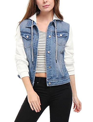 Allegra K Women's Layered Drawstring Hood Denim Jacket w Pockets XS Sky Blue ()