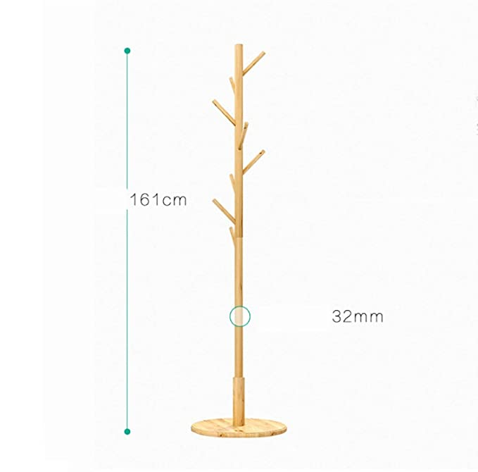 Amazon.com: MOJ-YJ Wooden Coat Stand 8 Hooks Hat and Coat ...