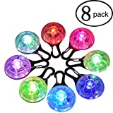 ANERSUS Water Resistent Pet Dog & Cat Collar LED Lights 8-Pack, Clip on Collar Makes Your Small Medium Large Dogs Cats Visible, Safe & Seen at Night | Battery Included, Colorful