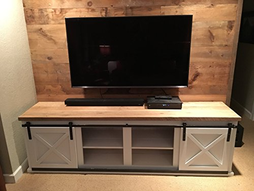 (Reclaimed Wood Entertainment Center with Barn Style Sliding Doors | FREE SHIPPING)