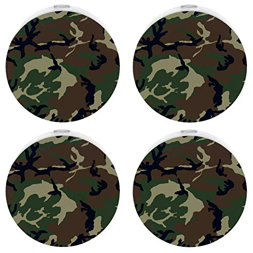 (Camouflage Woodland Texture Girls Auto On/Off Plug-in Night Lights for Stairways, Hallway, Entryway)