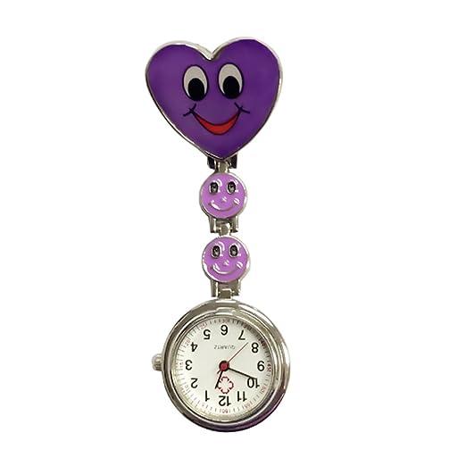 TrifyCore Reloj de Bolsillo médico del Reloj Especial de la Enfermera de la Cara del corazón de la Sonrisa púrpura: Amazon.es: Relojes