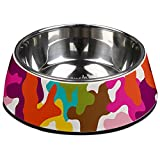 Cheap French Bull Stainless Steel and Melamine Designer Glamo Dog Bowls for Dogs or Cats, Medium