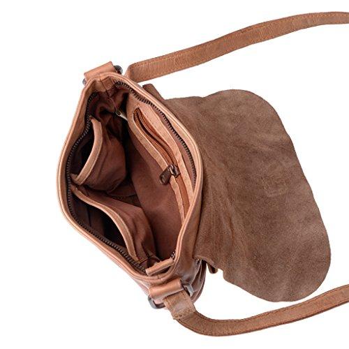 Bolso bandolera de suave piel teñida en prenda con correa DUDU Nut Brown