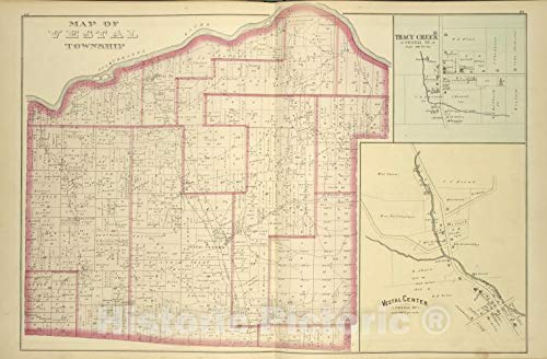 Historic 1876 Map - Map of Vestal Township; Tracy Creek [Village]; Vestal Center [Vi - Vintage Wall Art - 66in x ()