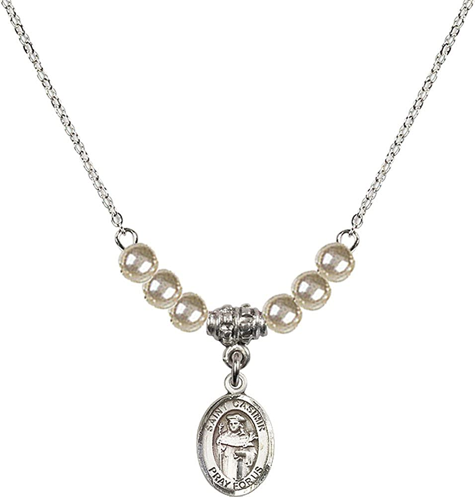 18-Inch Rhodium Plated Necklace with 4mm Faux-Pearl Beads and Sterling Silver Saint Casimir of Poland Charm.