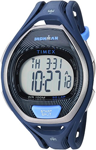 Timex Unisex TW5M17600 Ironman Sleek 50 Full-Size Blue/Black Resin Strap Watch (Strap Resin Black)