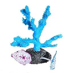 Uniclife Glowing Effect Silicone Artificial Coral Plant for Fish Tank, Aquarium Landscape Decoration,Decorative Aquarium Ornament – Blue
