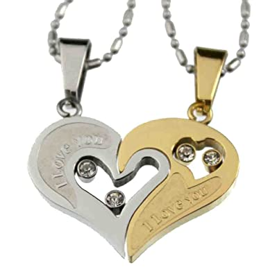 item stainless i heart couple steel pendant one pair half necklace love shape lovers you puzzle