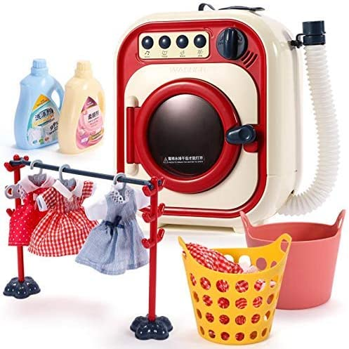 Toddler Cleaning Set-Toy Washing Machine-Play Washer and Dryer for Kids-Electronic Toy Washer with Realistic Sounds and Functions Pretend Role Play Appliance Toys for Toddlers