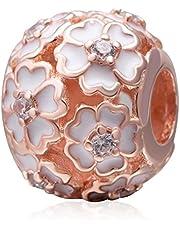 925 Sterling Rose Charm Flower Charm Love Charm Anniversary Charm Valentine Charm Birthday Charm for Pandora Charms Bracelet (Rose Gold)