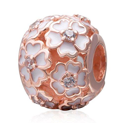 925 Sterling Rose Charm Flower Charm Love Charm Anniversary Charm Valentine Charm Birthday Charm for Pandora Charms Bracelet (Rose ()
