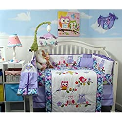 SoHo Lavender Owls Party Baby Crib Nursery Bedding Set for girls 14 pcs