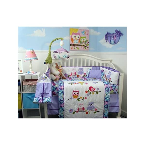 SoHo Baby Crib Nursery Bedding 10Pc Set, Lavender Owls