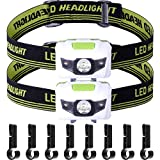 Jovitec 2 Pack LED Headlamp Adjustable Headlight with 8 Pieces Helmet Clips for Cycling Climbing Camping Hiking Biking Night Walking