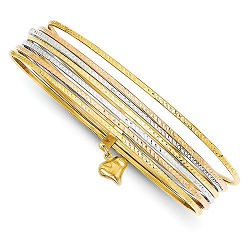 Solid 14k Gold Tri-color Slip On 7 Bangles (1mm) by Sonia Jewels